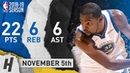 Kevin Durant Full Highlights Warriors vs Grizzlies 2018.11.05 - 22 Pts, 6 Ast, 6 Reb