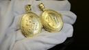 Парные золотые медальоны Балерина с фото и инициалами