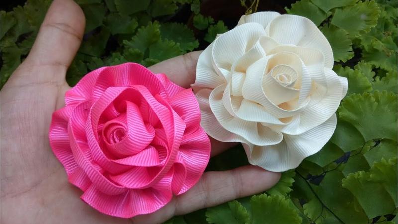 110) DIY - Tutorial || Cara Membuat Bros Mawar Serut || How to Make Ribbon Rose Flower