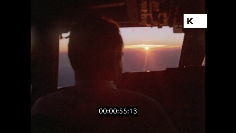 Pilots in Plane Cockpit at Sunset, 1970s, 35mm