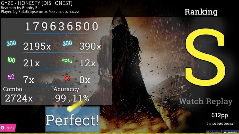 Osu SolaEclipse GYZE HONESTY DISHONEST 99 11% FC 612pp MOUSE ONLY