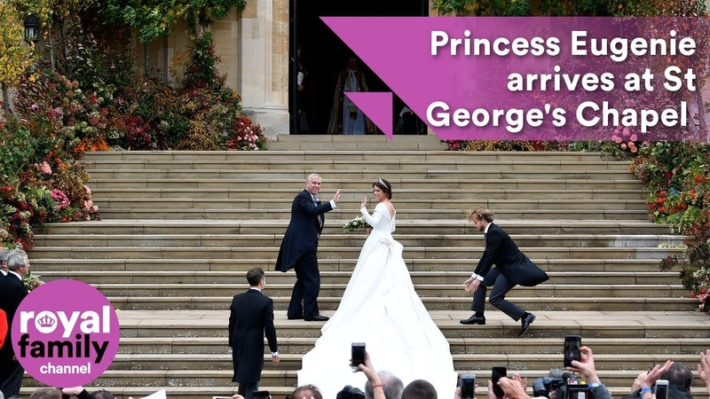 Princess Eugenie arrives at St Georges Chapel with Prince Andrew