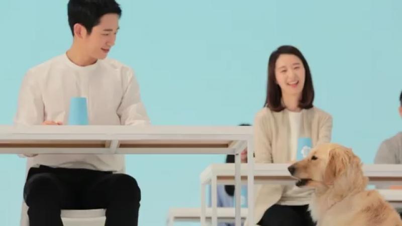 Чон Хэ Ин на съёмках рекламы Samsungfiretalk