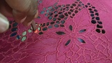 Honey comb cutwork embroidery saree - full process