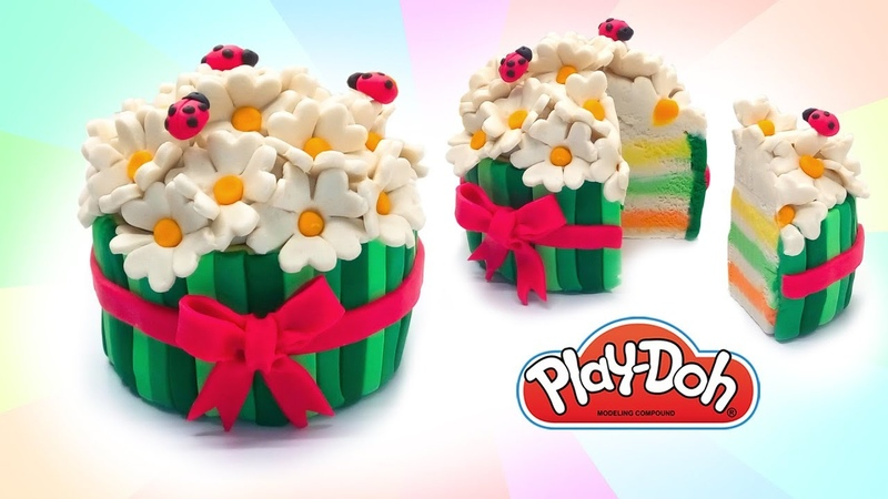 Play Doh Cake. Dolls Food. How to make Summer Cake. DIY for Kids. Learn Colors. Educational Video
