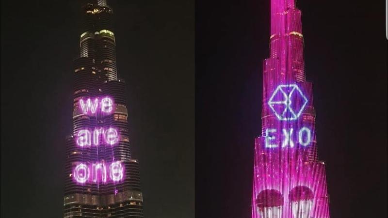 EXO LED SHOW ON THE BURJ KHAILFA, DUBAI FOUNTAIN 180714