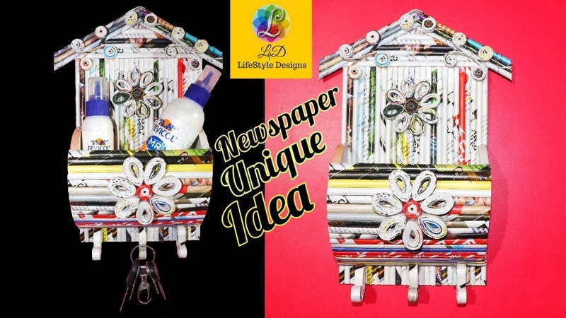 Newspaper wall hanging Key holder | Best out of Waste | LifeStyle Designs Craft idea