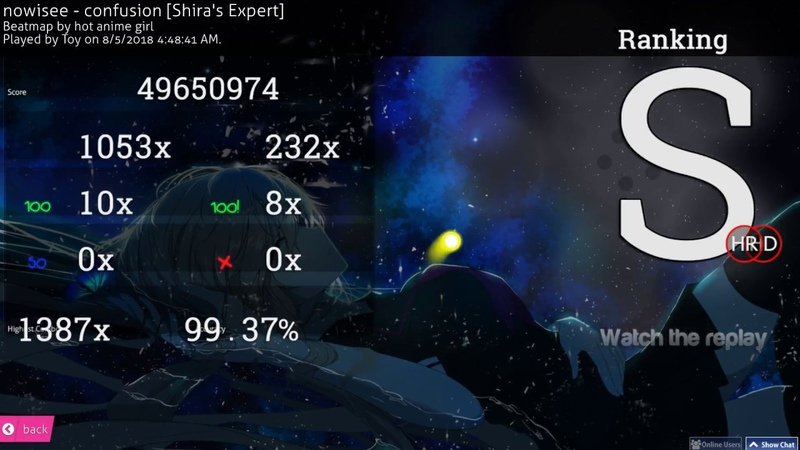 Osu! | Toy | nowisee - confusion [Shiras Expert] HD,HR 99.37 FC 528pp 1