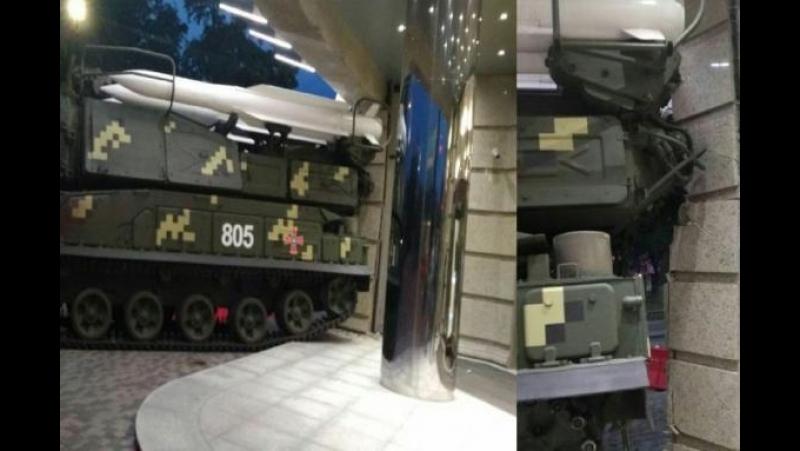 Столкновение со зданием на репетиции военного парада на Подоле...