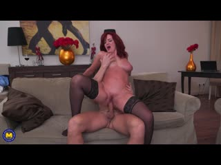 Beautiful redhead milf andi james getting a creampie after fucking and sucking