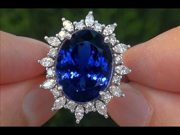 GIA Certified Estate VVS Natural D-Block Tanzanite Diamond 14k White Gold Vintage Ring - A131632