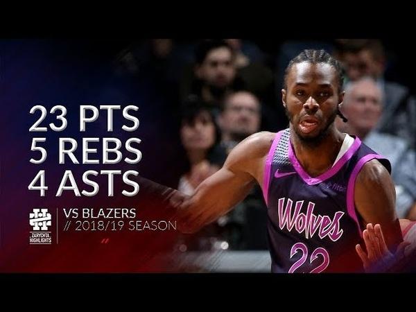 Andrew Wiggins 23 pts 5 rebs 4 asts vs Blazers 18/19 season
