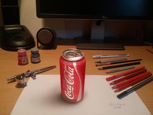 Художник-самоучка из Сербии Никола Чулич создает потрясающие 3D-рисунки используя цветные карандаши и маркеры, при этом его рисунки имеют удивительный эффект объема — иллюстрации будто выходят