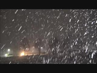 Снежный заряд в Тамбове вечером 12 декабря 2018
