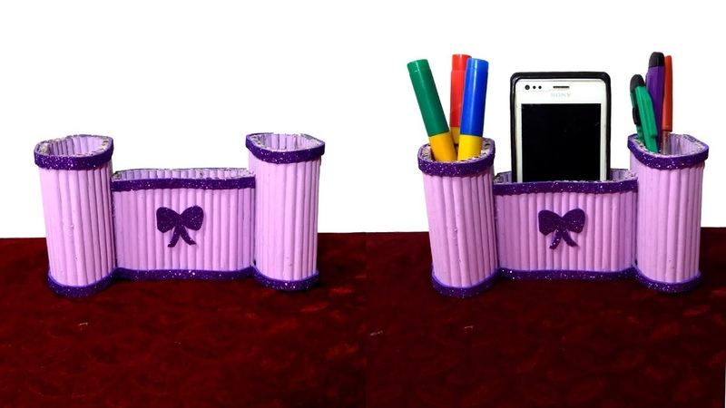 How to make a Mobile and Pen holder Using Newspaper | Best out of waste