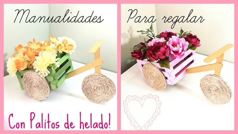 MANUALIDADES PARA REGALAR O DECORAR HECHA CON PALITOS DE HELADO Y CARTÓN!(POPSICLE STICKS CRAFT)