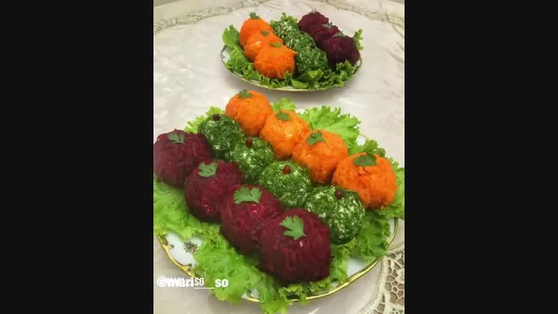 Салат в форме шариков (ингредиенты в описании)