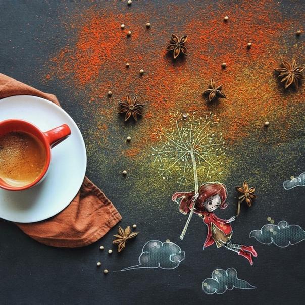 Утренний ритуал: Девушка создаёт аппетитные фуд-арт-фотографии из подручных средств во время завтрака Каждый раз, когда Синтия Болоньези садится пить кофе, её посещают оригинальные идеи, которые