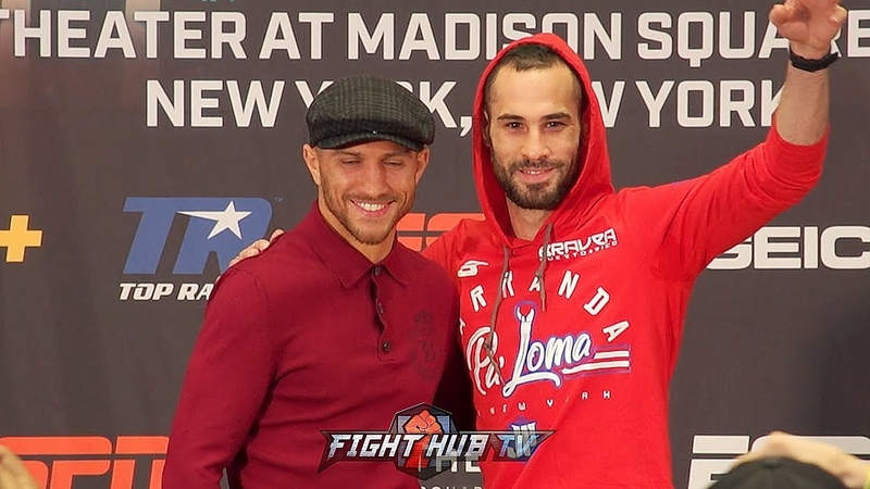 VASYL LOMACHENKO JOSE PEDRAZA SHOW MAD RESPECT TO EACH OTHER ALL SMILIES DURING NY FACE OFF