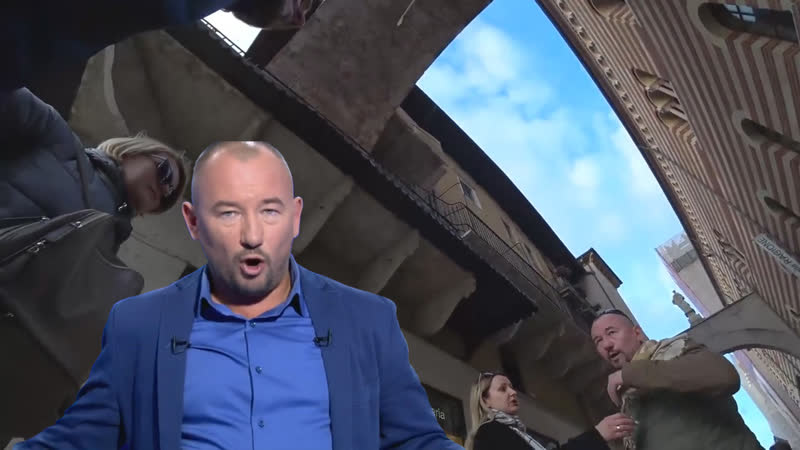 Ukrainian guy encountered a Putin's propagandist in Italy and spatted in his face. Украинец плюнул в лицо путинской шлюхе.