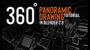360 panoramic drawing in Blender 2.8 (tutorial teaser)