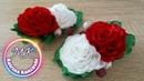 Зажимы с розами из атласной ленты, канзаши МК / Clips com rosas de fita de cetim, kanzashi MK