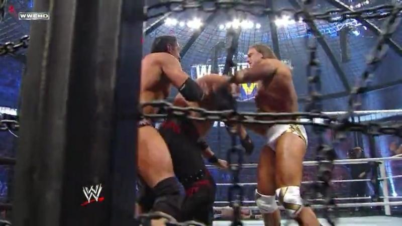 |WM| Эдж против Рея Мистерио против Кейна против Дрю Макинтайра против Биг Шоу против Уэйда Барретта - Клетка уничтожения 2011