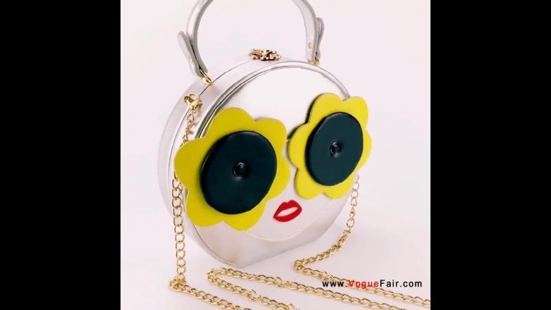 Vogue Fair New Girl Face Round Handbag Stylish Nightclub Party Prom PU Purse