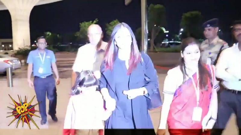 Айшвария Рай Баччан и Аарадхия были замечены в аэропорту. Красавицы направляются в Париж