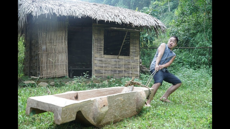 Primitive Skills: How to Harvest Rice? part2: wooden trough (lesung)