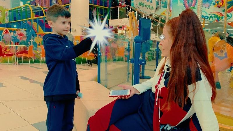 On indoor playground Den found memory eraser - Kids pretend play with mom
