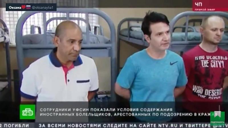 УФСИН показали условия содержания иностранных болельщиков арестованных по подозрению в кражах Всё с комфортом