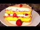 Клубничный торт Бисквитный торт с клубникой Пышный бисквит и сметанный крем клубника Очень вкусно