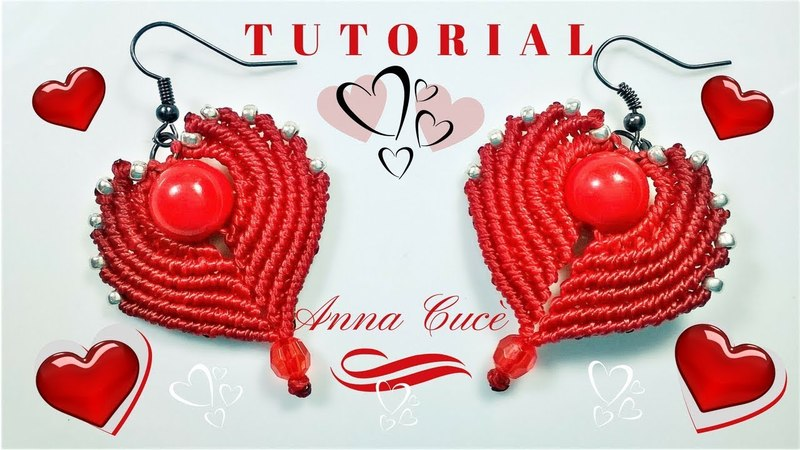 Tutorial earrings Cuore- Heart How to make easy macrame hearts for earrings for St Valentines day