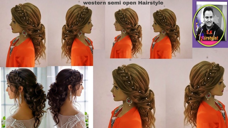 Latest western open Hairstyle with braid hair tutorial/ latest open western hairstyle for engagement