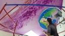 Космос в детской на потолке.Аэрография/роспись стен