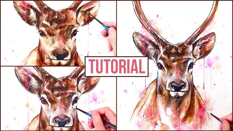 Watercolour Painting Tutorial | How to Paint a Stag - Step by Step