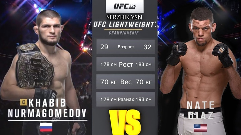 UFC БОЙ Хабиб Нурмагомедов vs Нэйт Диаз (com. vs com.)