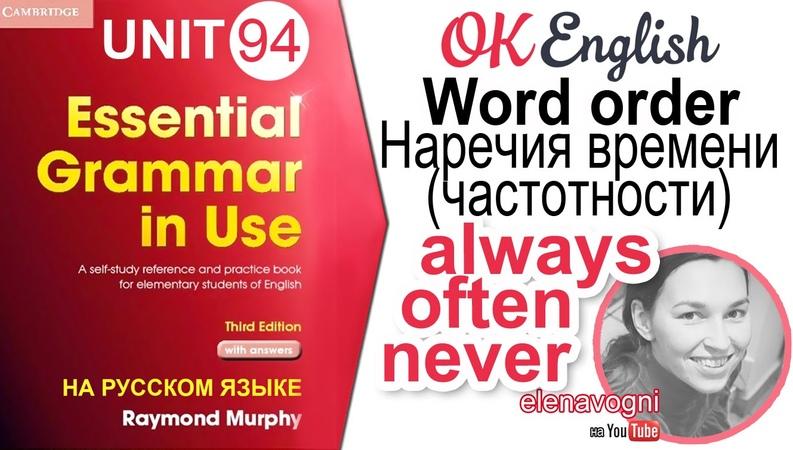 Unit 94 Порядок слов в английском: наречия частотности