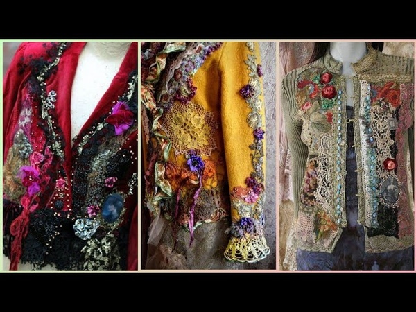 Shabby Chic Style antique laces embroidered jackets and top for girls/hippie style clothing