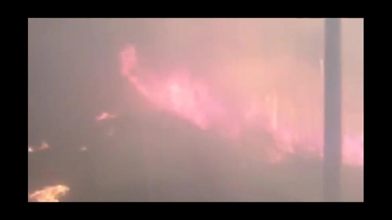 Поезд едет через лесной пожар (Комсомольск-на-Амуре)
