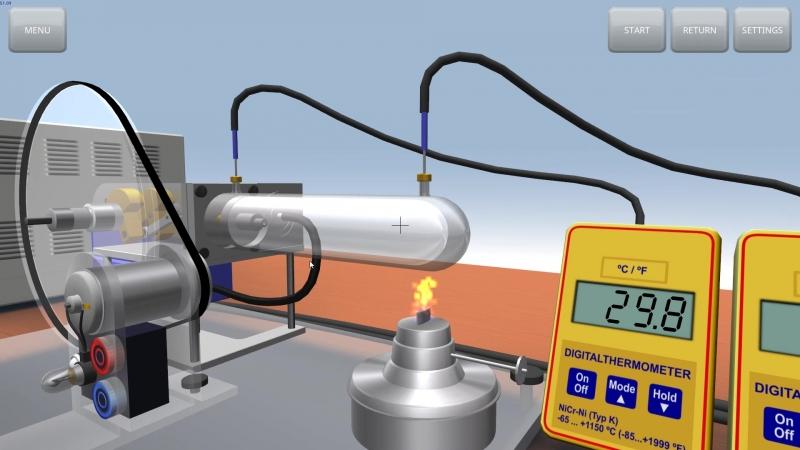 Лабораторный двигатель Стирлинга модели G - имитация основных элементов