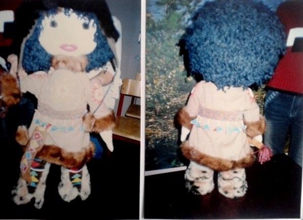 Кукла для конкурса создана руками детей.
