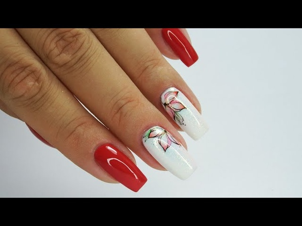 Red nails and flowers tint Tutorial step by step Sunflower Professional flowersnails rednails