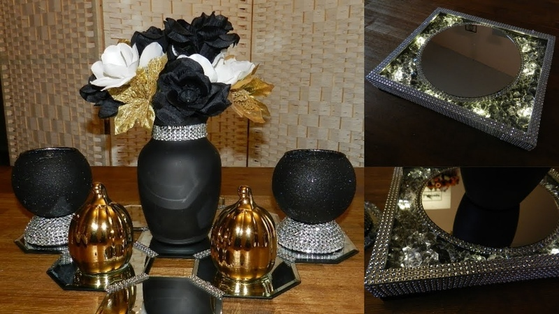 (Giveway Closed) Dollar Tree Glam Bling Centerpiece  DIY Elegant Candle Holders and Lighted Tray