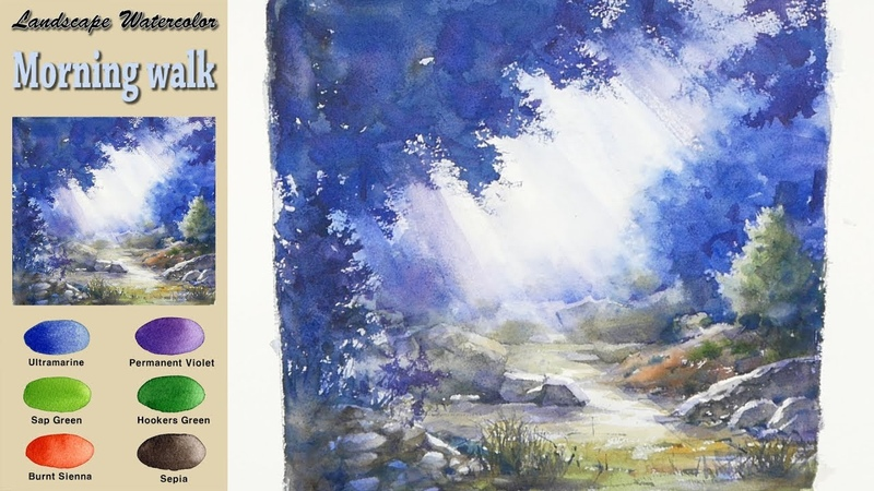 Morning walk - Drawing Landscape Watercolor. (wet-in-wet, Arches rough)NAMIL ART