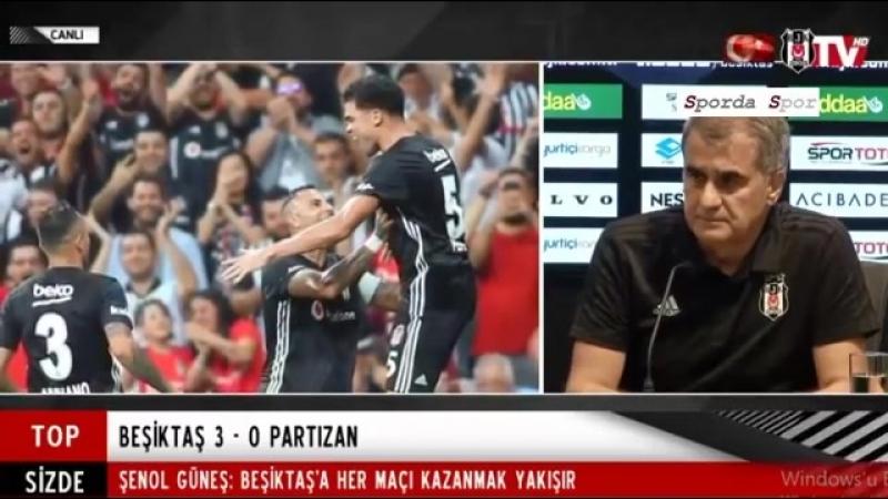 """Beşiktaş - Partizan 3-0 Maç Sonu """" Şenol Güneş """" Basın Toplantısı"""