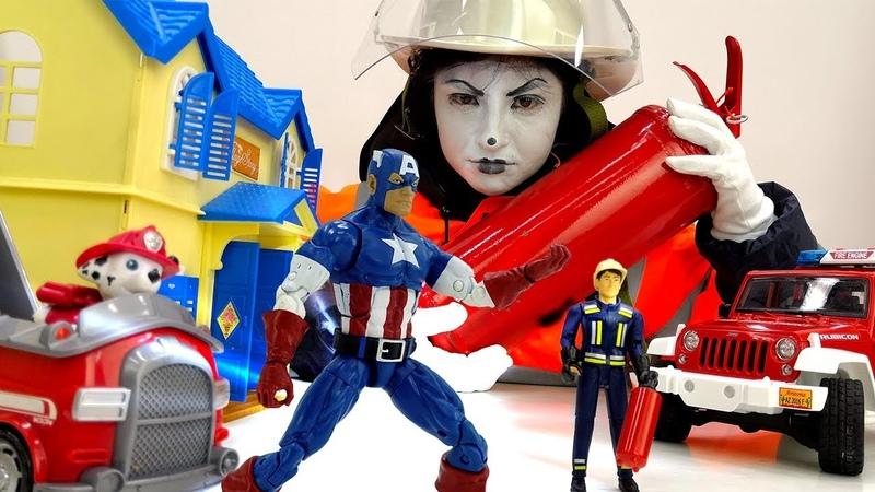 Капитан Америка и игрушки на пожарной станции. Игры для детей