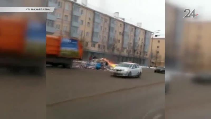 В Казани мусоровоз загорелся из-за взорвавшегося газового баллончика