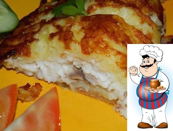 рыбка в шубе ингредиенты: -филе рыбы (я брала тилапию) - 6 шт.; -картофель - 7-8 шт.; -сыр - 70 г; -яичный белок - 2 шт.; -мука - 4-6 ст. л.; -соль, перец, специи; -масло для жарки.